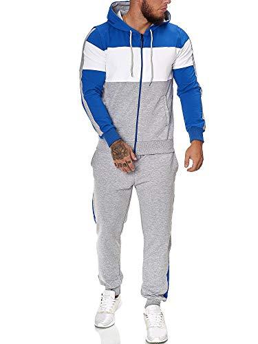 Code47 - Chándal para Hombre Azul, Blanco y Gris. XL