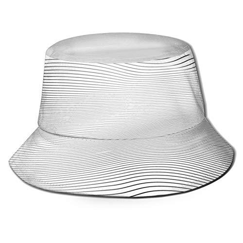 fudin Cappello da Pescatore Donna Onda Stripe Sfondo Semplice Timbro Texture Outdoor Pieghevole Secchio Tappo per Campeggio in Viaggio Pesca