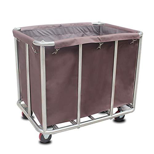 GUONING-L Rueda Sombrilla herramienta móvil de lino de coches for Hotel, Carro de acero inoxidable con servicio de habitaciones Oxford cubierta de tela, Vestíbulo carro de la compra con Universal Cast