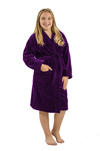 BY LORA Terry Teeners Robes Kids Spa Bademäntel, XL, Violett