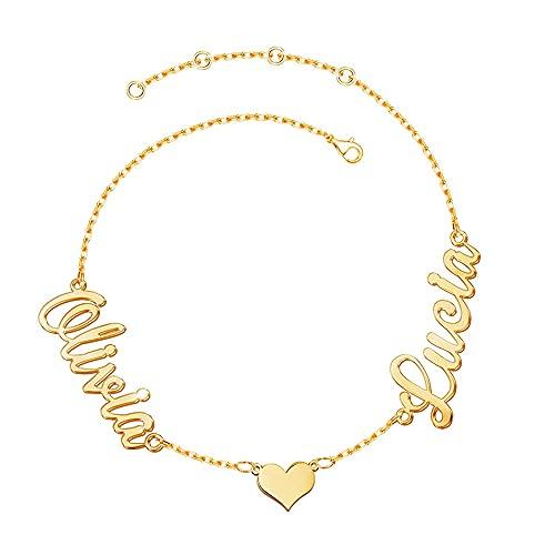 Moorcowry Namenskette Gold,Personalisierte 925 Silber Namenskette 3 Name Weibliche Halskette 18K Gold Valentinstag Geburtstag Personalisiertes Geschenk zum Jahrestag