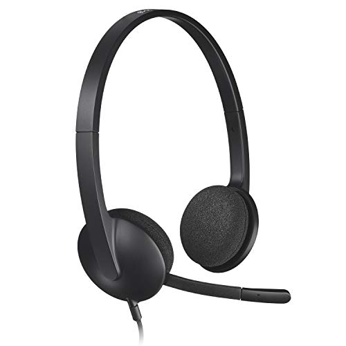 Logitech H340 Wired USB Business Headset, Stereo Headphones with Noise-Cancelling Microphone, Digital Stereo Sound on VOIP, Skype and webinars, PC/Mac/Laptop - Black
