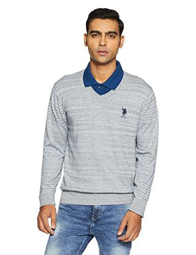 US Polo Assn. Men's Cotton Sweater (8907538639028_USSW0672_XL FS_Blue)
