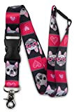 Limeloot French Bulldog Frenchie Premium Wide Lanyard with Breakaway, Release Buckle, and Flat Ring