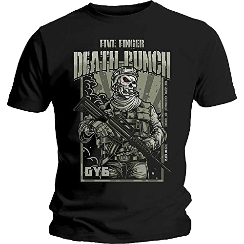 Five Finger Death Punch War Soldier Camiseta, Negro (Black Black), X-Large para Hombre