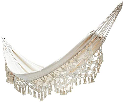 Bohemian Fringed Hangmat Canvas, Binnenhof Leisure Double Camping Garden Beach Outdoor Swing Chair,250 * 150cm