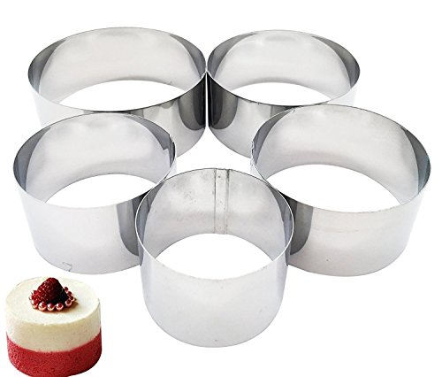 SONSMER Set of 5 Cooking Rings, Professional Stainless Steel Food Tower Presentation Cooking Rings -Round Forms
