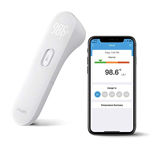 iHealth Wireless No-Touch Thermometer for Adults Forehead, Digital Infrared Fever Thermometer for Babies & Kids with 3 Sensors,Bluetooth Forehead Thermometer with LED Screen&Gentle Vibration Alert