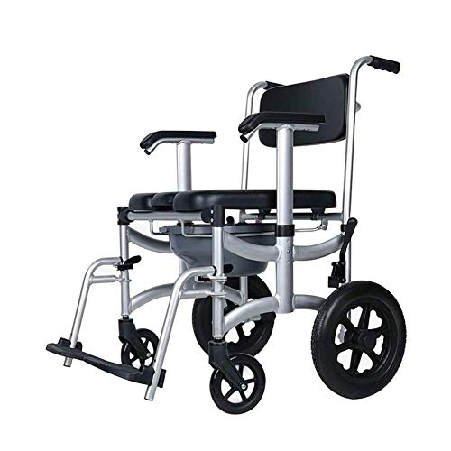 Great Features Of ZWJ-Shower Chair Commode Chair with Wheel Household Wheelchair Bath Stool Waterpro...