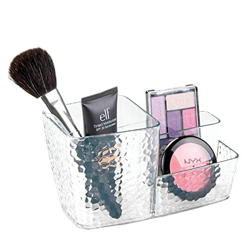 Price comparison product image iDesign 48350 Make Up Brush Holder,  Structured Plastic Make Up Storage Caddy with 3 Differently Sized Compartments,  Space Saving Dressing Table Organiser for Brushes and Makeup,  Clear