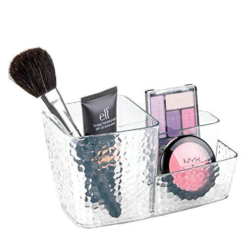 iDesign Kosmetik Organizer, Sortierkasten mit Struktur für Make-up aus Kunststoff mit 3 Fächern, zur Kosmetik Aufbewahrung, durchsichtig