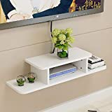 BiJun Floating TV Shelf Entertainment Center Wall Mounted Media Console, Router DVD Shelf, for One/PS4/Cable Box/DVD Players/Game Console Streaming Media Equipment (White, 31.5)