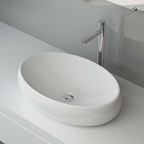 Waschbecken24 BxTxH: 60x41x15 CM KERAMIK AUFSATZWASCHBECKEN WASCHTISCH WASCHSCHALE WASCHPLATZ FÜR BADEZIMMER GÄSTE WC A88