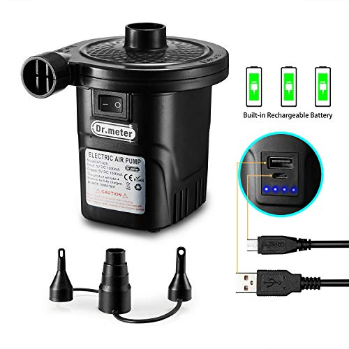 Rechargeable Air Pump, Dr.meter HT-420 Portable Electric Air Pump 4000mAh Quick-Fill Inflator Deflator Air Mattress Pump (Rechargeable Air Pump)