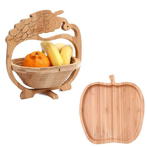 Flanacom Obstkorb aus Bambus-Holz im 2er Set mit Obstschale - Faltkorb mit Ständer für Obst und Gemüse - Küchen-Dekoschale faltbar - Geschenkidee Einweihung (Trauben Design)