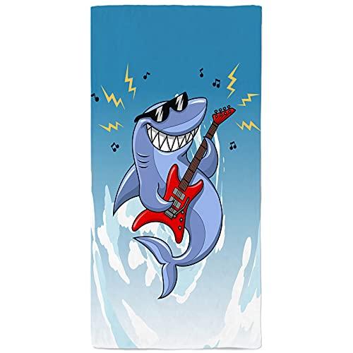 onetoze Toalla de Playa Tiburón Guitarra Microfibra Toallas Piscina Toalla Infantil Niño Niña Seque Rápidamente Absorbente Toallas Ducha Acampada Viaje Regalos Personalizados 75x150cm, Azul