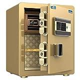 GR Caja Fuerte Caja de Seguridad biométrica con Huella Dactilar y Teclado, Arma Dinero Bloqueo Cajas Fuertes para Efectivo de Pistola en casa, 15 x 12.6 x 17.7 Pulgadas (Color : Gold)