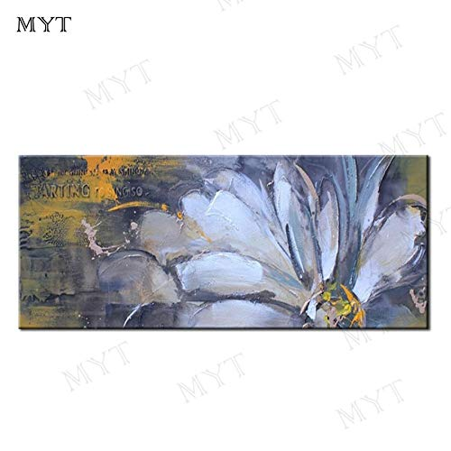 Decorative Paintings,Hand Painted Canvas Oil Painting Home Decoration White Lotus Flower Paintings Pictures Modern Wall Art Painting Living Room Bedroom Decoration Holiday Gifts,20X48Inch (50X120