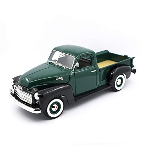 1950 GMC Pickup Truck Dark Green and Black 1/18 Diecast Model Car by Road Signature 92648