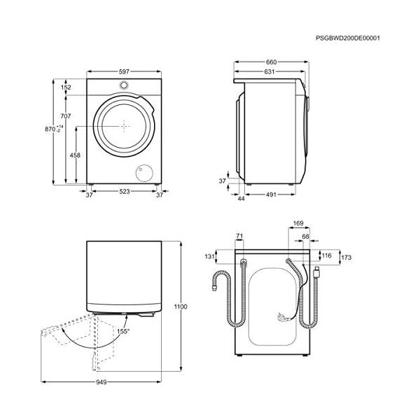AEG L9WEC163C Lavasecadora de Libre Instalación, Carga Frontal, Lava 10 Kg, Seca 6 Kg, 1600 rpm, Serie 9000, Motor…