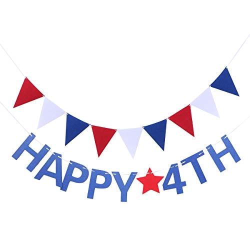 ABOOFAN 2 banderines de Estados Unidos para el Día de la Independencia Feliz 4ª Banderines Guirnalda conmemorativa Día de la Foto Prop SignGraduación Fiesta Favores