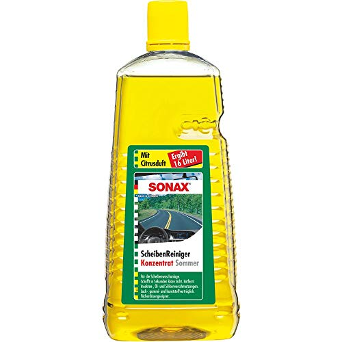 SONAX ScheibenReiniger Konzentrat mit Citrusduft (2 Liter) Reinigungskonzentrat für die Scheiben- und Scheinwerferwaschanlage | Art-Nr. 02605410