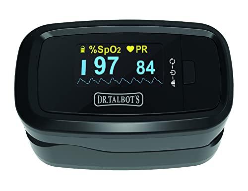 DrTalbots Pulsoximeter - Fingerpulsoximeter - SpO2 Sauerstoffsättigung Messgerät Sauerstoffmessgerät für Sauerstoff - Oxymeter Pulsmesser für Kinder und Erwachsene - Schwarz NV10001 1 Stück (1er Pack)