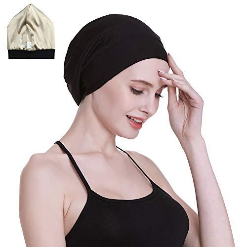 Satin Cap 100% Mulberry Silk Lined Sleeping Hats for Natural Hair Black