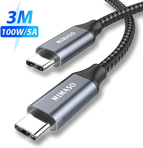NIMASO USB C a USB C Cable 3M,Cable Tipo C de Carga Rápida 100W 20V/5A PD con E-Mark Chip y Cable de Datos para MacBook,MacBook Pro,iPad Pro 2020/2018,MacBook Air 2020,ChromeBook Pixel,Galaxy S20 S10
