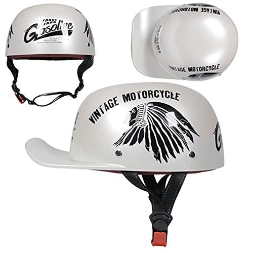 Casco de béisbol estilo retro medio casco vintage motocicleta media concha casco abierto cara cráneo casco hombres y mujeres Cruiser ciclomotor calle Touring casco 3,L
