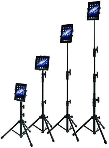 IPad Tripod Stand, Raking Foldable Floor Height Adjustable Tablet Tripod Stand for iPad Mini1,2,3, iPad Air, iPad 2,3,4,5,6 and Most 7-10 Inch Tablets, Carrying Bag and Flashlight as Gift