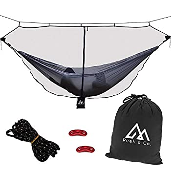 Peak & Co Hammock Bug Net & Hammock Mosquito Net 12  with Water Resistant Bag & Guyline Adjusters Fits All Single/Double Camping Hammocks Compact Lightweight Fast/Easy Setup Dual Sided Zipper