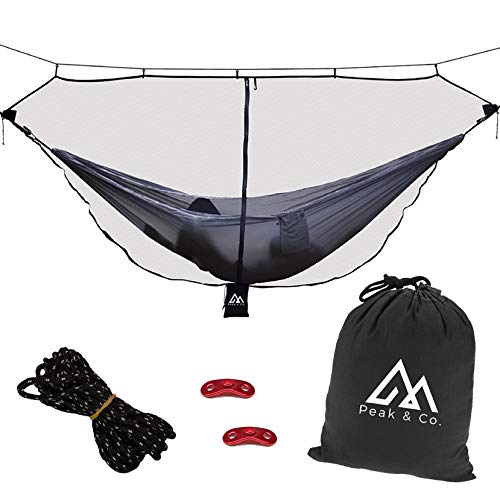 Peak & Co. Hammock Bug Net & Hammock Mosquito Net 12' with Water Resistant Bag & Guyline Adjusters. Fits All Single/Double Camping Hammocks. Compact. Lightweight. Fast/Easy Setup. Dual Sided Zipper