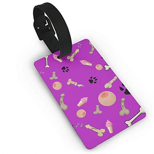 Penis Brust Hund Fußabdrücke Knochen gedruckt Reise Koffer Kofferanhänger, stilvolle und erkennbare Gepäckanhänger, beschreibbare Namen auf der Rückseite, Autonamen ID