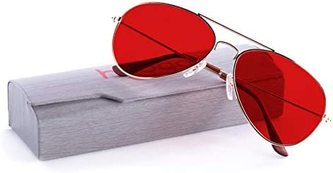 Color Therapy Glasses by Hooga Aviator Style Red product image