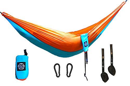 Monkey Swing Hängematte inkl. Aufhängeset I 275 x 140 cm I für Outdoor, Travel, Trekking & Camping, Reise, Garten, Strand (Blau/Orange)