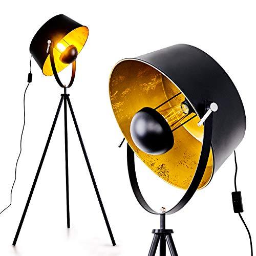 Vloerlamp Jupiter, Vintage vloerlamp in zwart/goud metaal met metalen frame, Ø 40cm, E27 fitting, max. 60 Watt, verstelbare vloerlamp in retro uitvoering, geschikt voor LED-lampen