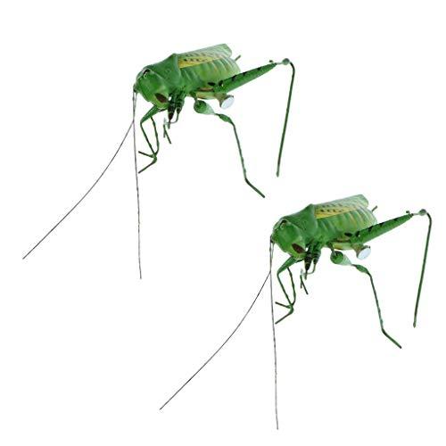 DZX 2 x Katydid Insectes Statues d'animaux Miniature Jardin extérieur Prairie Arbre pelouse Ornement décor à la Maison Cadeau , décorations de Jardin en Plein air