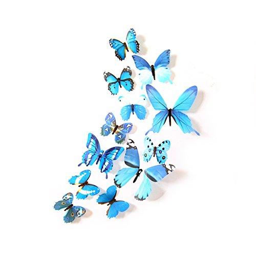 Oblique-Unique® Deko Schmetterlinge 12er Set - wunderschöne farbenfrohe Dekoration - Wandtattoo (Blau)