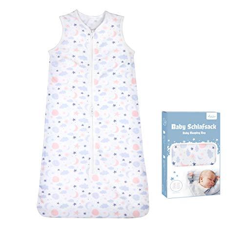 Adorfine Schlafsack Baby Sommerschlafsack 0.5 Tog Babyschlafsack aus atmungsaktiver Baumwolle Stern Wolken Schlafsack Einstellbar 90-110cm Kleine Kinder Schlafanzug für Neugeborene 18-36 Monate