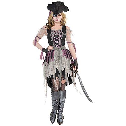 shoperama Geisterpiratin Kostüm für Damen Damenkostüm Piratin Halloween Kleid Geist, Größe:L