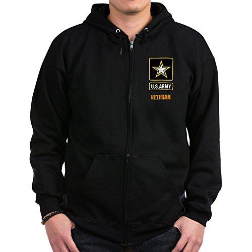 CafePress U.S. Army Veteran Sweatshirt Zip Hoodie, Classic Hooded Sweatshirt with Metal Zipper Black