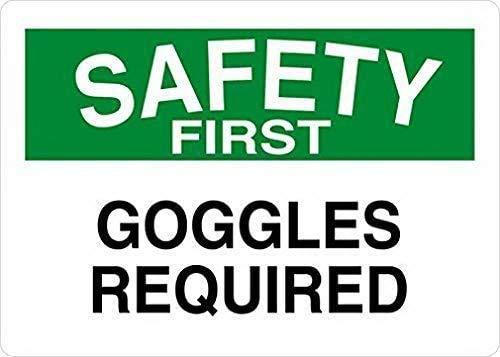 YY-one Señal de estaño con gafas de seguridad requeridas primer cartel de metal de aluminio, 20 x 30 cm