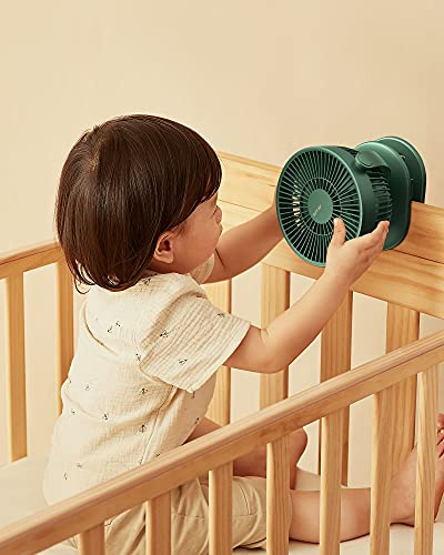JISULIFE Stroller Fan, Clip on Fan for Baby with Narrow Slot, 4000 mAh, Rechargeable Battery Operated Fan, USB Powered Small Desk Fans, 4 Setting, Max 15 Hrs, Quietness for Bed Office Camping-Green
