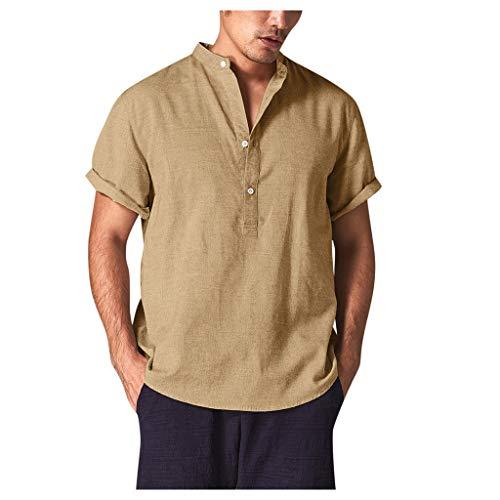 Aiserkly Sommer Männer kühlen und dünnen Breathable Kragen hängen gefärbte Gradient Baumwollhemd Gelb M