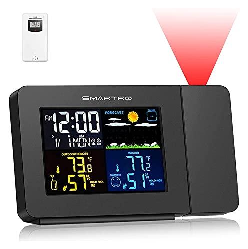 LX-Love clock Proyección de reloj despertador para dormitorios Proyector con estación meteorológica,...