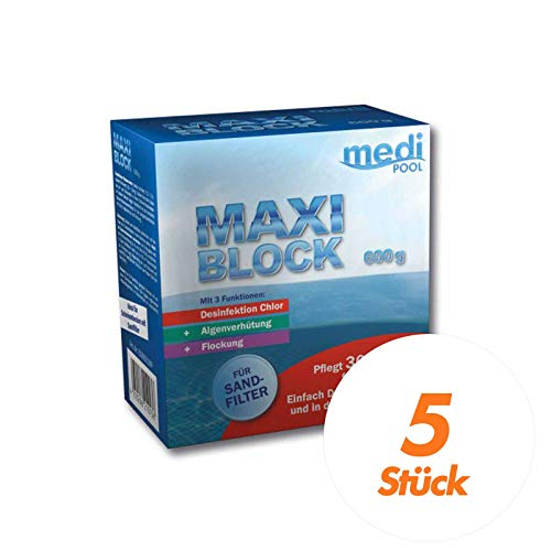 mediPOOL MaxiBlock 5x 600 g Multifunktionsblock, Chlorblock, Poolreinigung, Langzeitdesinfektion f. Pools