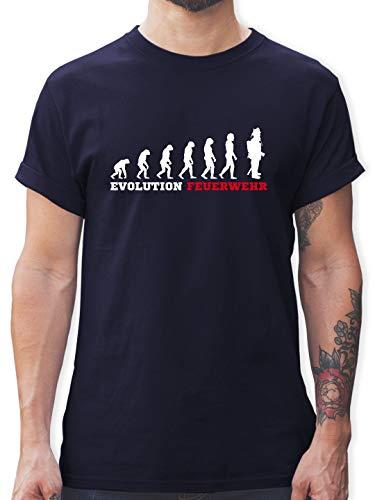 Feuerwehr - Evolution Feuerwehr - M - Navy Blau - Tshirt sprüche männer - L190 - Tshirt Herren und Männer T-Shirts