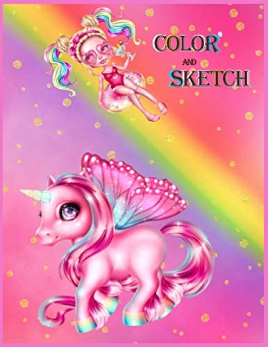 COLOR AND SKETCH 2in1 20 Unicorn Coloring Pages and 28 How to draw cute animals step by step product image