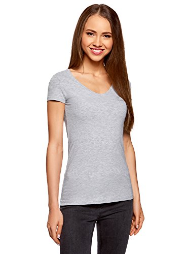 oodji Collection Mujer Camiseta Básica con Escote en V, Gris, ES 34 / XXS